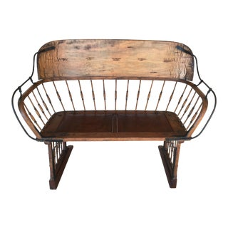 Antique Primitive Bentwood Spindle Carriage Bench For Sale