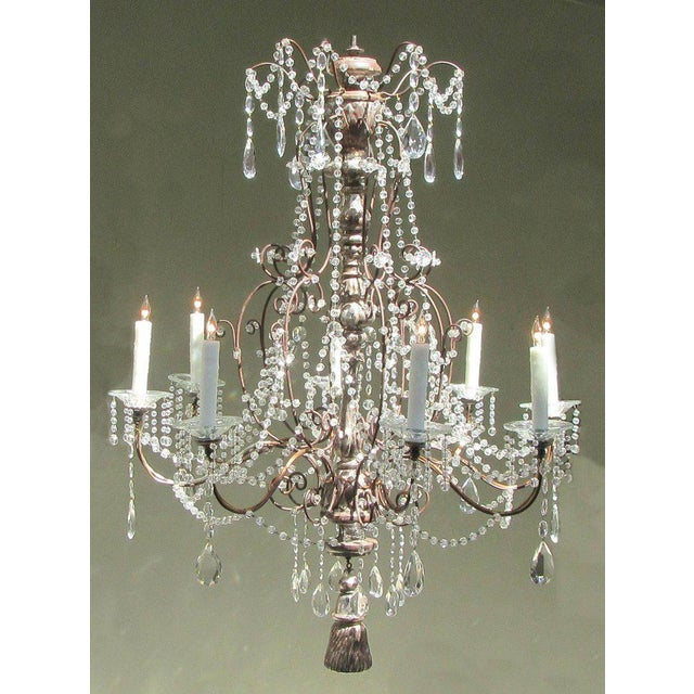 19th Century Italian Baroque Silver Leaf and Crystal Chandelier with Tassel For Sale - Image 10 of 10