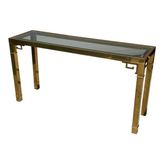 Mastercraft Brass & Glass Greek Key Console Table For Sale