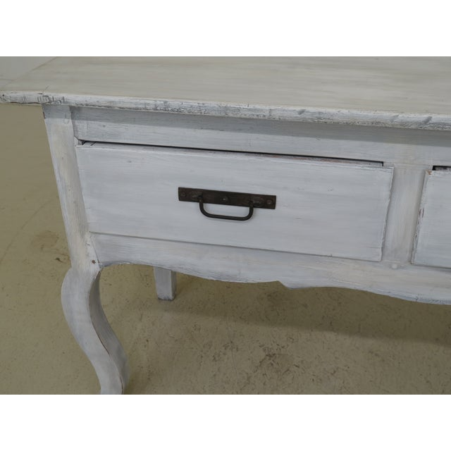 French Shabby Chic Country White 3 Drawer Console Table Server For Sale - Image 3 of 10