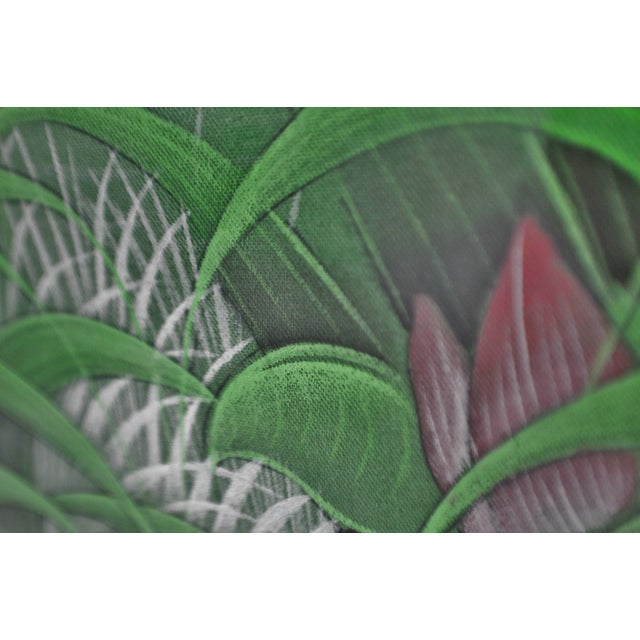 Large Art Deco Textile Art Painting Professionally Framed - Image 4 of 11