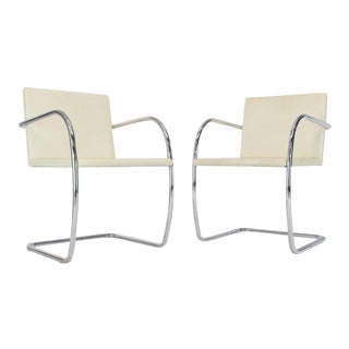 Pair of Thin Pad Tubular Brno Knoll Cream Leather Chairs Midcentury Bauhaus For Sale
