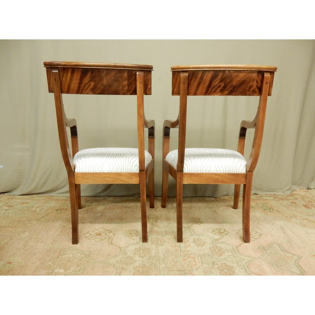 Traditional Pair of Neo-Classical Empire Arm Chairs For Sale - Image 3 of 5