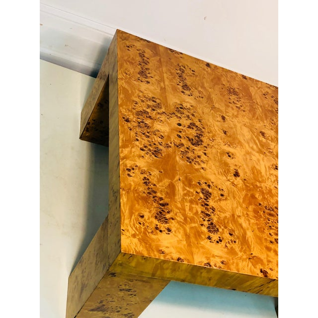 "Exceptional burl wood table. Made in Italy, 1980's. Measures 31 1/2"" by 31 1/2"", 14 1/2"" high. Some wear appropriate with..."