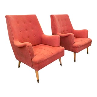 Pair, Mid Century Lounge Chairs Attributed to Kroehler For Sale