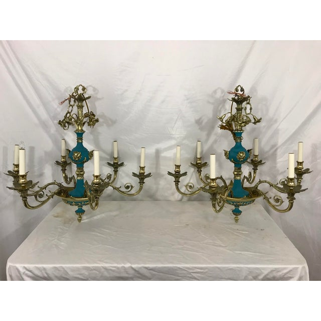 Russian Imperial Blue Bronze Chandeliers a Pair For Sale - Image 13 of 13