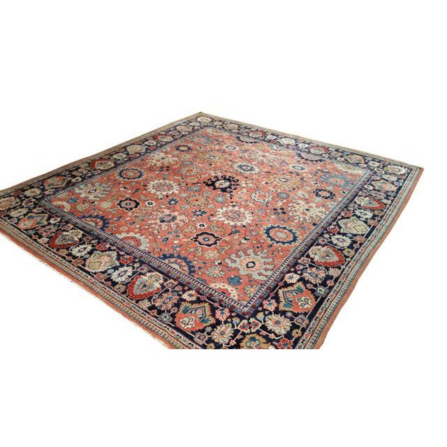 Islamic Antique Persian Sarouk Fereghan Hand Made Knotted Rug - 8′3″ × 9′ - Size Cat. 8x10 9x9 For Sale - Image 3 of 4