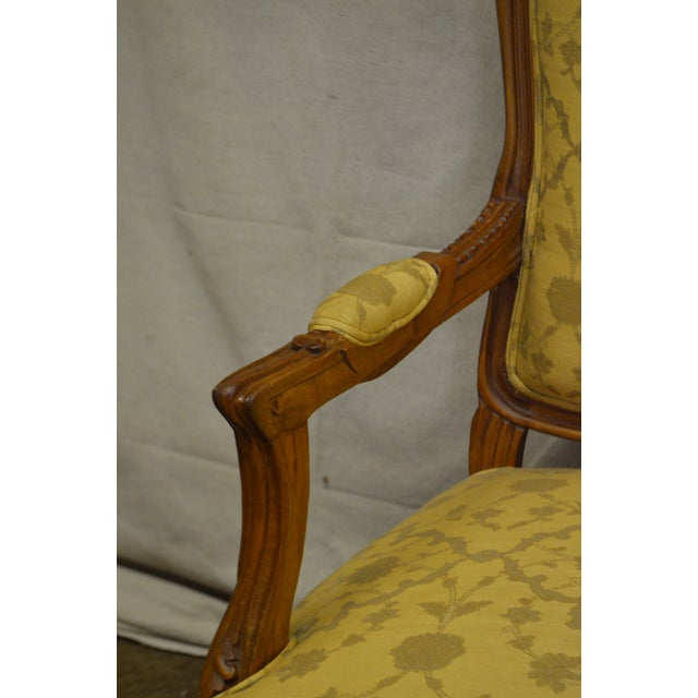 Quality Pair of Custom Upholstered Solid Walnut Louis XV Style Arm Chairs - Image 10 of 10