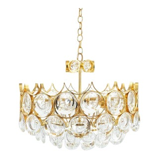Palwa Pair of Petite Gold Brass Glass Chandeliers Lamps Refurbished, 1960