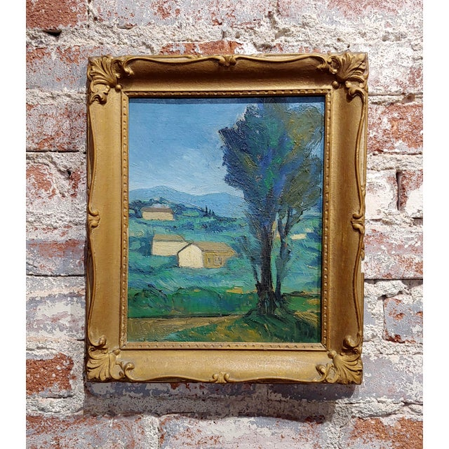 Blue Italian Countryside - 1920s Oil Painting For Sale - Image 8 of 8