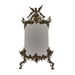 19th C. Art Nouveau Table Top Bronze Mirror For Sale