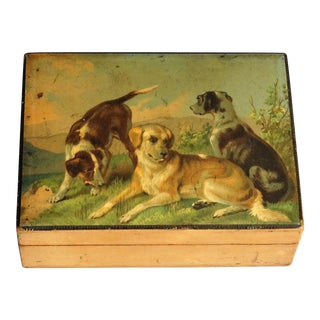 Antique Playing Cards Box with Sporting Dogs