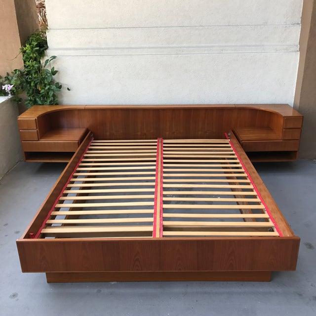 Danish Modern Teak Queen Floating Bed Frame For Sale - Image 5 of 9
