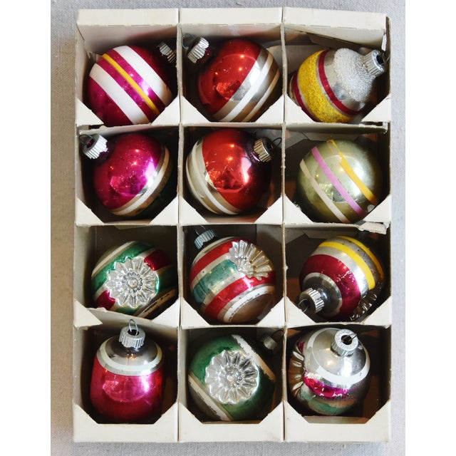 Adirondack Retro Midcentury Colorful Christmas Tree Ornaments W/Box - Set of 12 For Sale - Image 3 of 10
