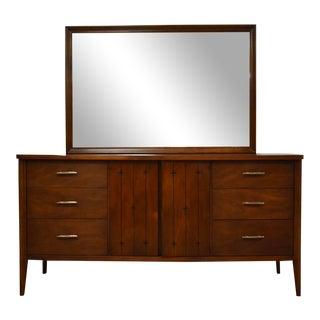 Broyhill Saga Walnut Dresser and Mirror For Sale