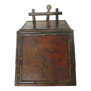 19th Century English Tortoise Shell Japanned Bamboo Coal Scuttle For Sale