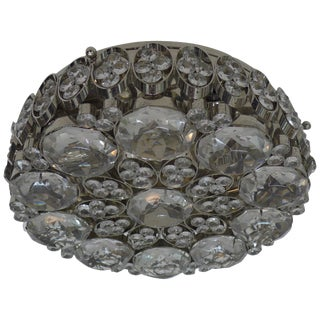 Hand-Carved Crystal and Nickel Flush Mount Fixture For Sale