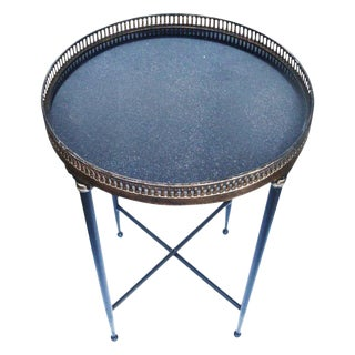 Campaign Granite Top Round Side Table For Sale