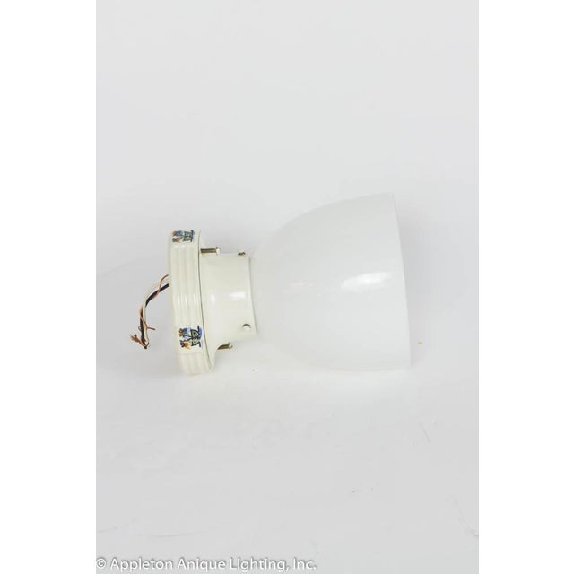 Restored Porcelain Flush Mount Fixture With Milk Glass For Sale - Image 4 of 6