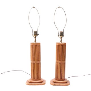 Mid-Century Bamboo Block Table Lamps - a Pair For Sale