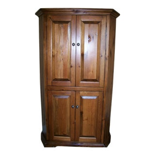 Rustic Eddy West Wooden Corner Entertainment Cabinet For Sale