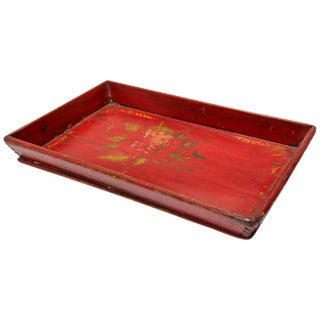 Red Chinese Antique Hand Painted Wood Serving Tray For Sale