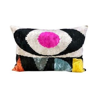 Kim Salmela Modern Color-Block Turkish Silk Velvet Ikat Lumbar Pillow For Sale