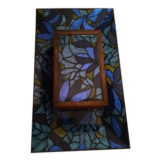 1970s Stained Glass Mosaic Trinket Box and Vanity Tray For Sale