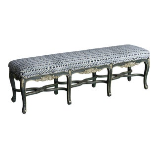 Regence Style Painted Bench, Eight Cabriole Legs with Stretchers, Upholstered Seat, France For Sale