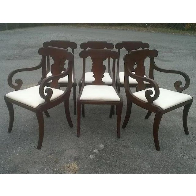 Traditional Regency Dining Chairs With Scrolled Arm - Set of 6 For Sale - Image 3 of 12