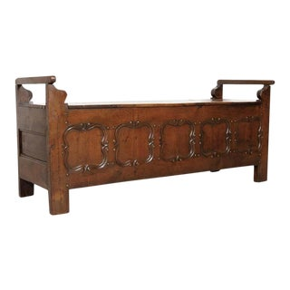 19th Century Country French Louis XIV Style Hall or Window Bench With Storage For Sale