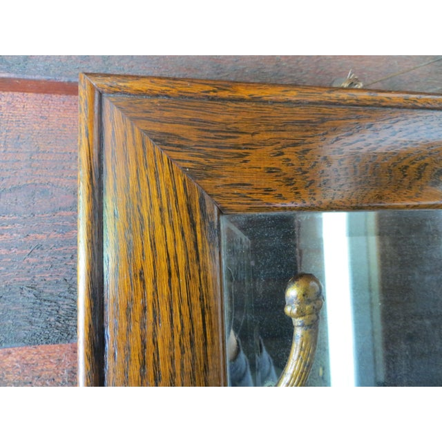 Antique Hanging Wall Mirror Tiger Oak With Hooks For Sale - Image 5 of 10