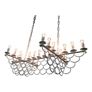 Massive 23 Light Wrought Iron Chain Chandelier