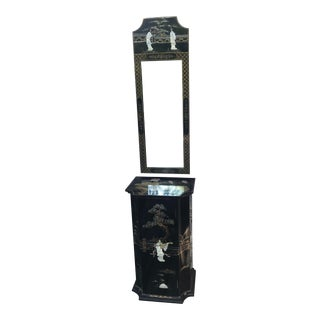 Chinoiserie Entry Cabinet With Mirror For Sale