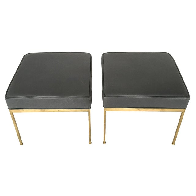 Lawson-Fenning Square Brass & Slate Gray Leather Ottomans - A Pair - Image 3 of 8