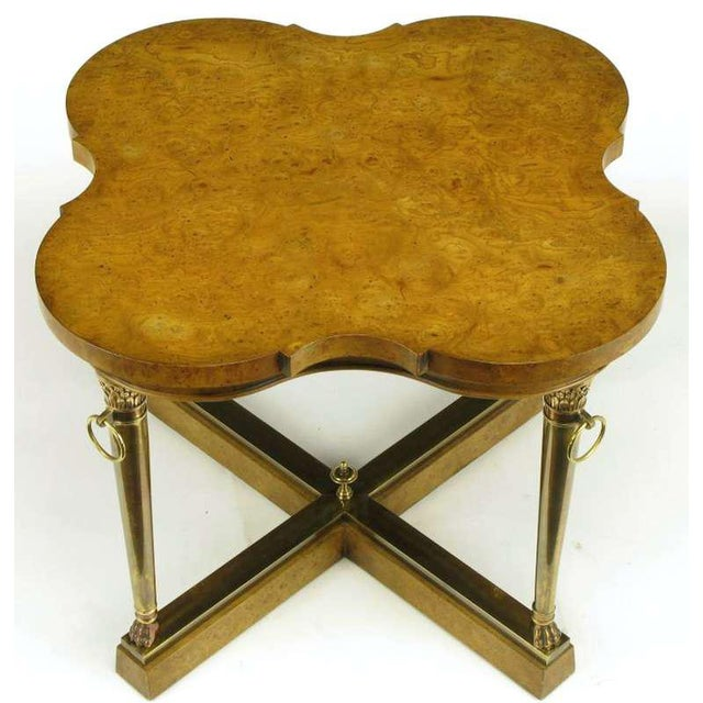 Taking cues from French Empire design, Mastercraft executed this stunning side table with a modern twist. Acanthus leaf...