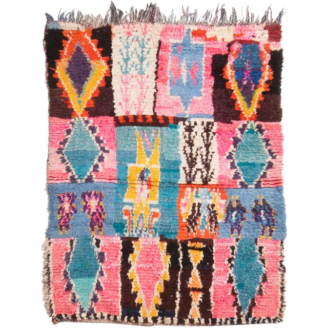 Contemporary Moroccan Geometric Wool Rug - 4′6″ × 6′ For Sale