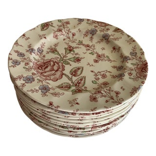 Midcentury English Chintz Floral Dishes, Set of Ten For Sale