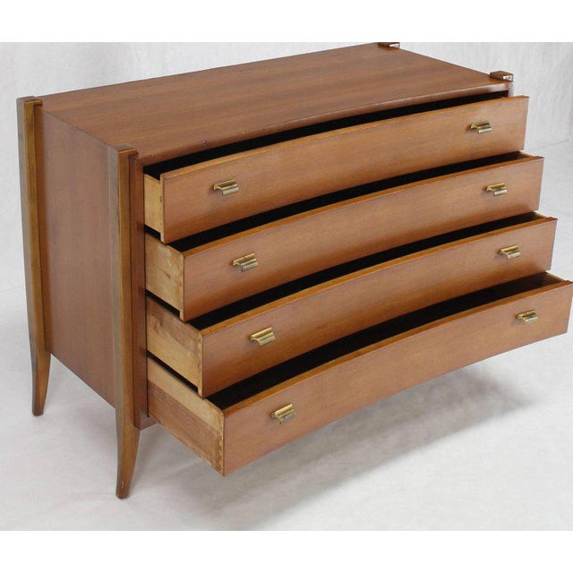 Bow Front Mid-Century Modern Bachelor Four Drawers Chest Dresser Brass Pulls For Sale In New York - Image 6 of 6
