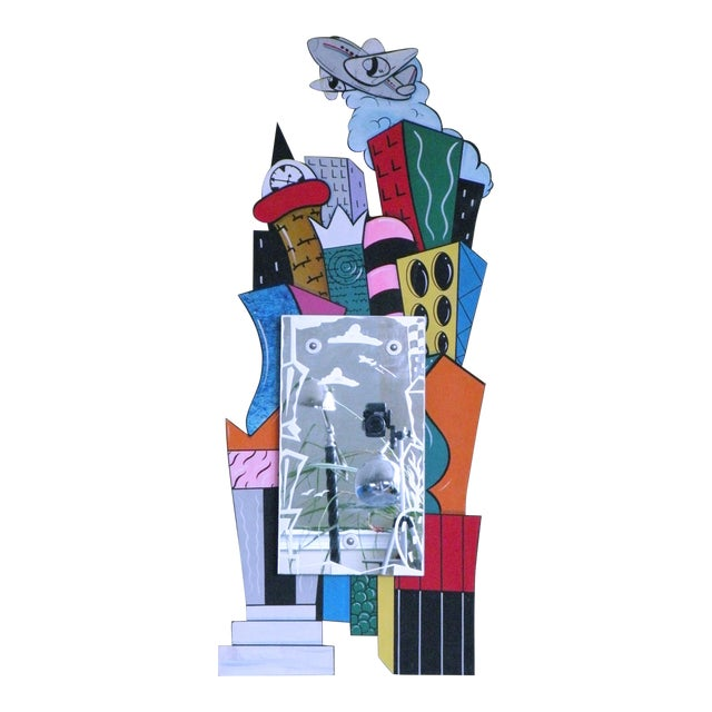 "1993 Post Modern Memphis ""Cityscape"" Hand Painted & Etched Mirror by Milano Mendini Sottsass For Sale"