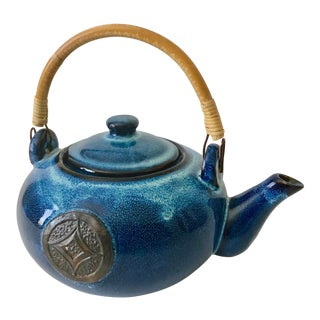 1980s Royal Blue Glazed Kettle For Sale