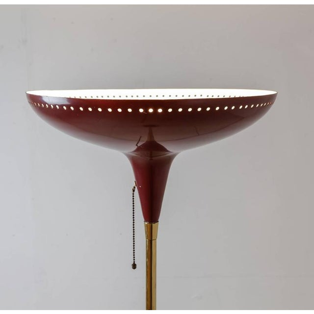 Italian Uplighter Floor Lamp in Wonderful Dark Red, 1950s - Image 2 of 4