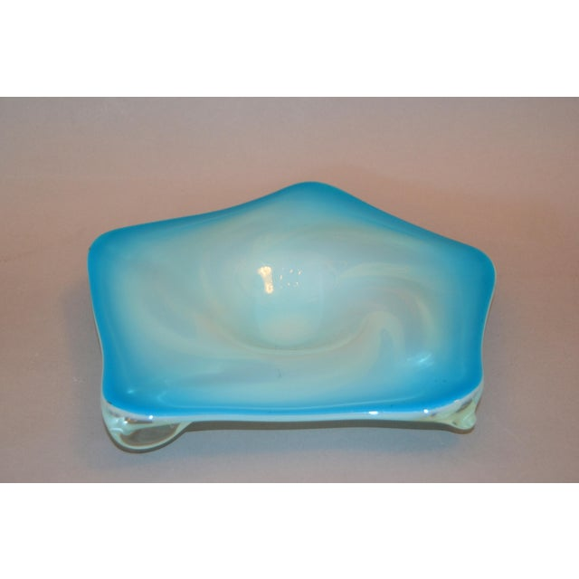 Italian Murano Glass Hand Blown Blue, White and Clear Catchall Bowl, Italy For Sale - Image 3 of 9