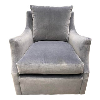 Highland House Velvet Swivel Chair For Sale