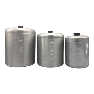 Mid-Century Italian Aluminum Kitchen Canisters-Set of 3 For Sale