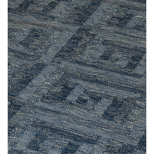 Mid-Century Modern Swedish Flat-Weave Inspired Handwoven Wool Rug For Sale - Image 3 of 6