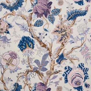 Sample- Schumacher Indian Arbre Wallpaper in Hyacinth For Sale