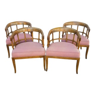 1950s Vintage Upholstered Barrel Style Dining Chairs - Set of 4 For Sale