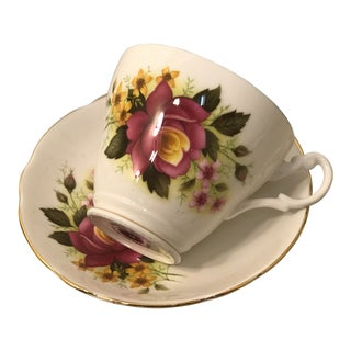 Vintage Royal Ascot Bone China Floral Cup & Saucer - a Pair For Sale
