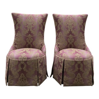 1940s Vintage Lee Jofa Host Dining Chairs Pink Ombre Damask - a Pair For Sale